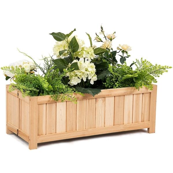 Shop Costway Rectangle Wood Flower Planter Box Portable