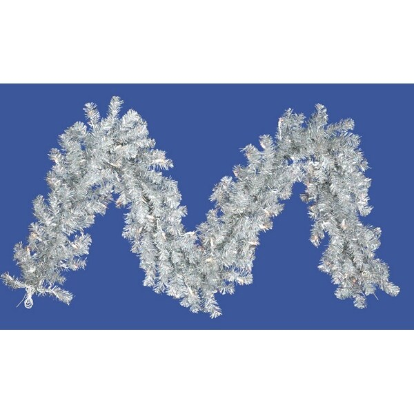 "9' x 10"" Pre-Lit Silver Tinsel Artificial Christmas Garland - Clear Lights"