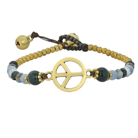 Handmade Vintage Peace Sign with Stone Beads Bracelet (Thailand)