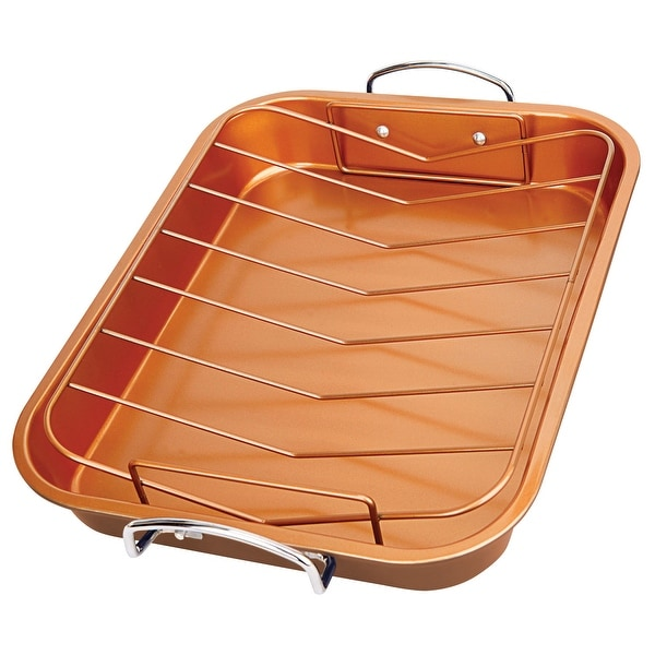 Shop Copper Roasting Pan Non Stick Turkey Roaster With