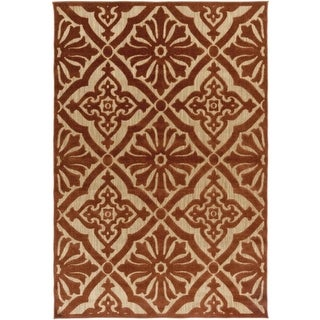 5' x 7.5' Regal Floral Yellow Gold and Auburn Brown Outdoor Area Throw Rug