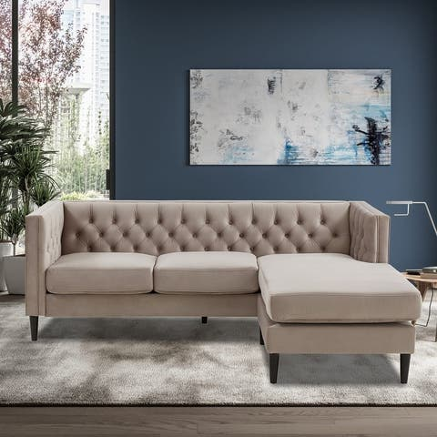 Velvet Upholstered Tufted L-shaped Sectional Sofas With Ottoman