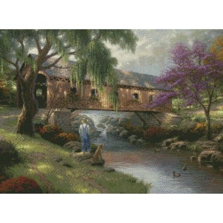 """Old Fishing Hole Counted Cross Stitch Kit-16""""X12"""" 16 Count"""
