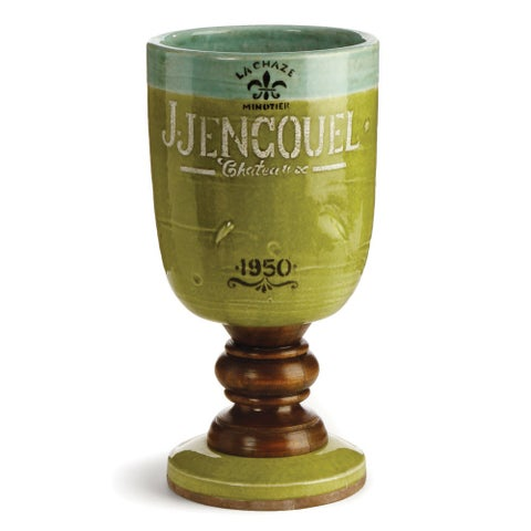 Napa Home and Garden RC207 PS Chateau 6 Inch Wide Handcrafted Ceramic Chalice - Green