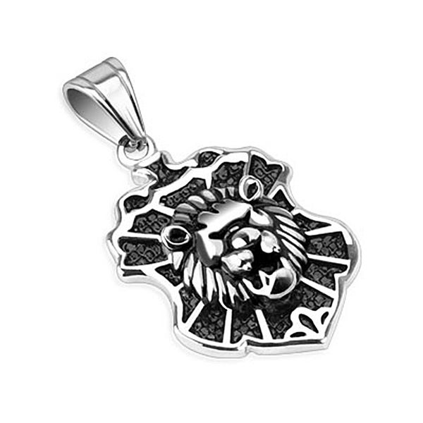 Lion Design Cast Crest Stainless Steel Pendant (24 mm Width)
