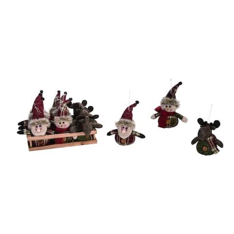 "12-Piece Brown and Gray Plush Santa Traditional Christmas Ornaments 11"""