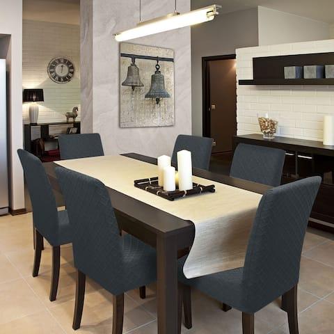6pcs Stretch Knit Diamond-type Lattice Dining Chair Slipcovers