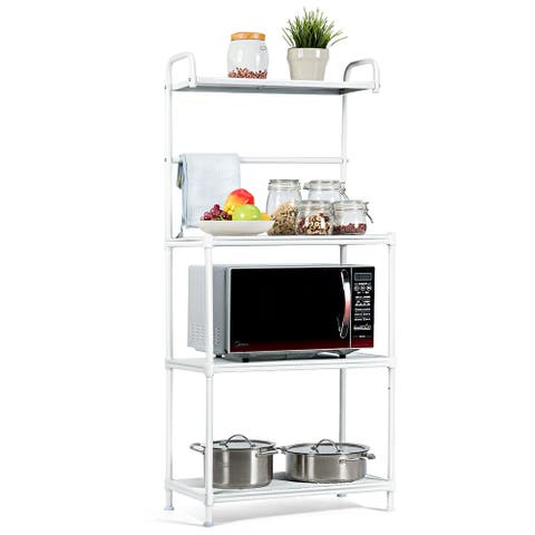 Costway 4-Tier Baker's Rack Microwave Oven Rack Shelves Kitchen Storage Organizer White