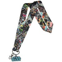 Star Wars Multi Character Wide Trading Pin Lanyard ID Holder with Metal Charm - One Size Fits most