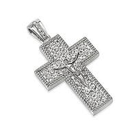 Crucifix Geometric Cross with Multi Paved Gems Stainless Steel Pendant (36 mm Width)