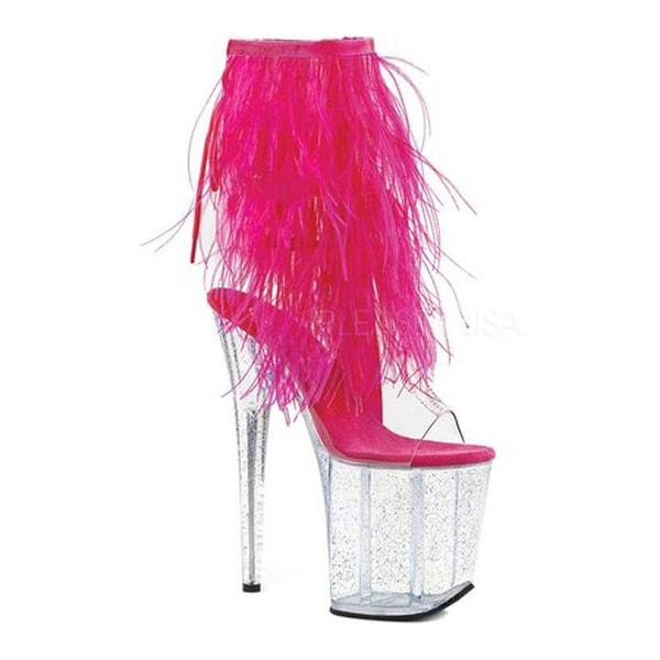 582acabba2f Shop Pleaser Women s Flamingo 1017MFF Platform Sandal Clear PVC Hot Pink  Marabou Clear Glitter - Free Shipping Today - Overstock - 19315673