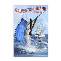 Galveston Island TX Sailfish Fishing - LP Artwork (Acrylic Wall Clock) - acrylic wall clock