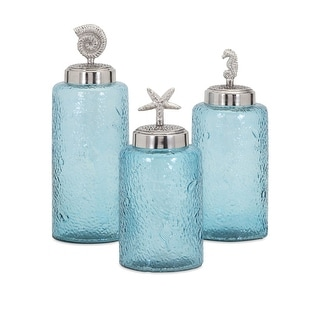 IMAX Home 47727-3  Aubrey Iron Lidded Glass Decorative Canisters - Set of 3 - Blue