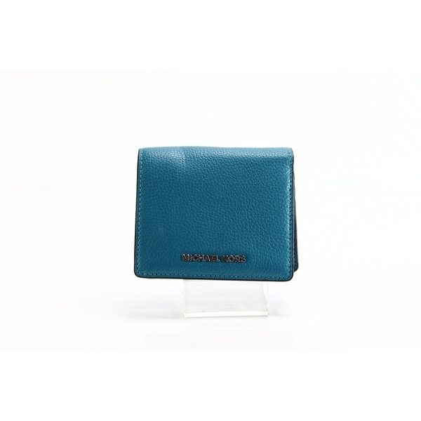 be75e944663ab Shop Michael Kors NEW Mercer Peacock Blue Bifold Card Case Leather ...