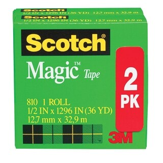 Scotch 810 Magic Tape, 0.50 x 1296 Inches, Matte Clear, Pack of 2