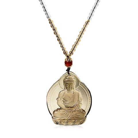 Buddha Spiritual Meditation Pendant Necklace Brown Carved Glass Rope - 22