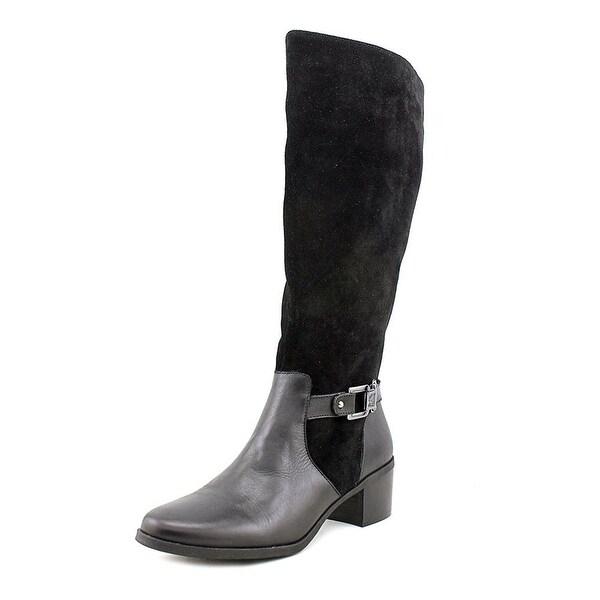 Anne Klein Womens Joetta Leather Almond Toe Knee High Fashion Boots