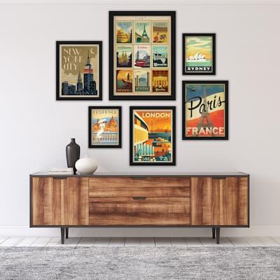 World Cities Anderson Design Group 6 Piece Framed Gallery Wall Art Set