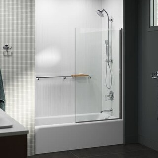 "Kohler K-707105-L Aerie 32"" Bath Screen with CleanCoat and Square Corner - bright polished silver"
