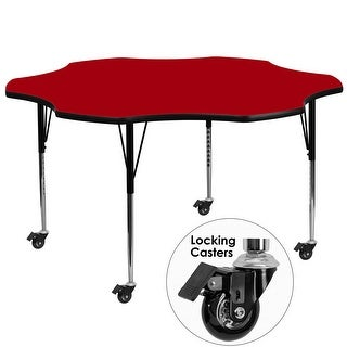 Fun & Games Activity Table 60'' Flower Red Thermal Laminate Adj Height w/Wheels