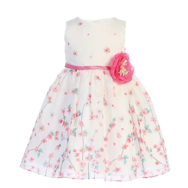 Little Girls Ivory Fuchsia Floral Printed Stylish Flower Girl Dress