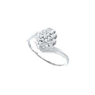 1/8Ctw Diamond Cluster Ring White Gold White-Gold 10K