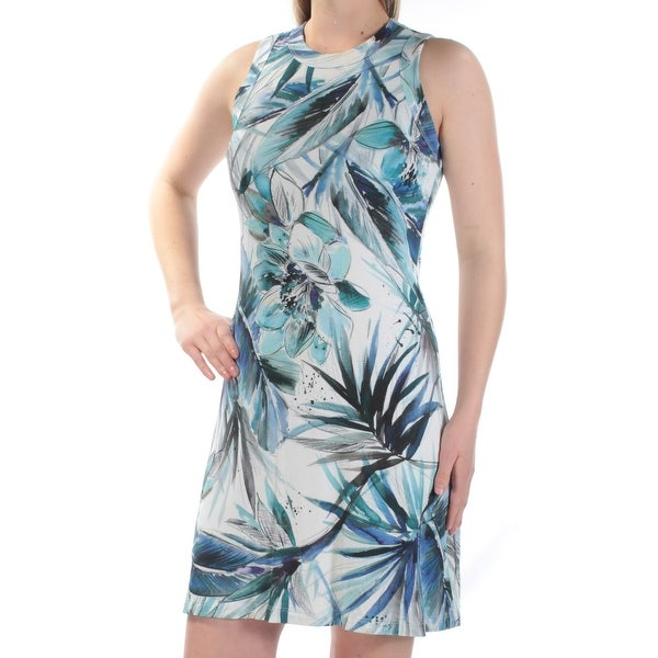9a598ca702 Shop KAREN KANE Womens Blue Floral Sleeveless Jewel Neck Above The Knee  Shift Dress Size  S - Free Shipping Today - Overstock - 21272187