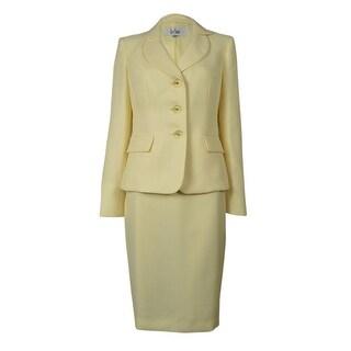 Le Suit Women's Rose Garden Woven Skirt Suit - lemon ice