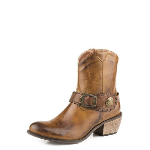 Roper Western Boots Womens Mae Zip Up Tan