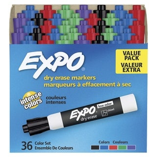 Expo Low Odor Dry Erase Markers, Chisel Tip, Assorted Colors, Set of 36