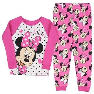 Disney Minnie Mouse Little Girls Long Sleeve Cotton Pajama Set Pink
