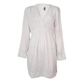 Lauren Ralph Lauren Women's Crochet-Trim Cotton Tunic Cover-Up