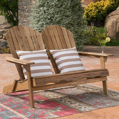 Malibu Outdoor Wood Adirondack Loveseat by Christopher Knight Home