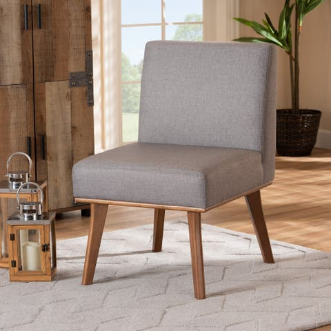 Odessa Grey Fabric and Walnut Brown Finished Wood Dining Chair