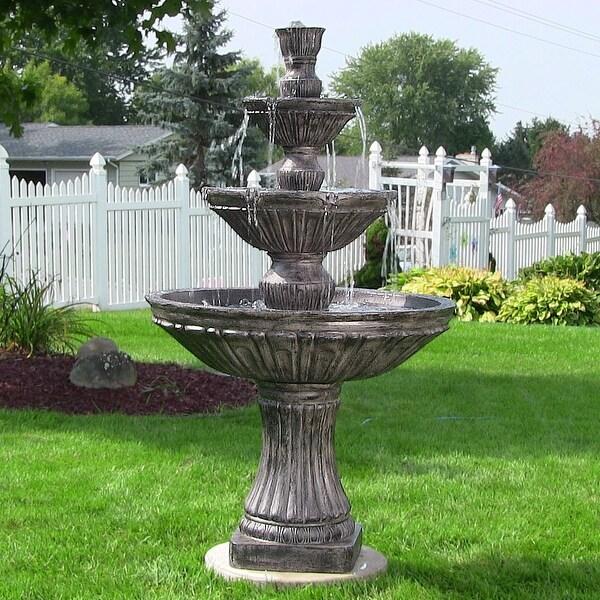 Sunnydaze Classic 3 Tier Designer Outdoor Water Fountain Dark Brown with Elect
