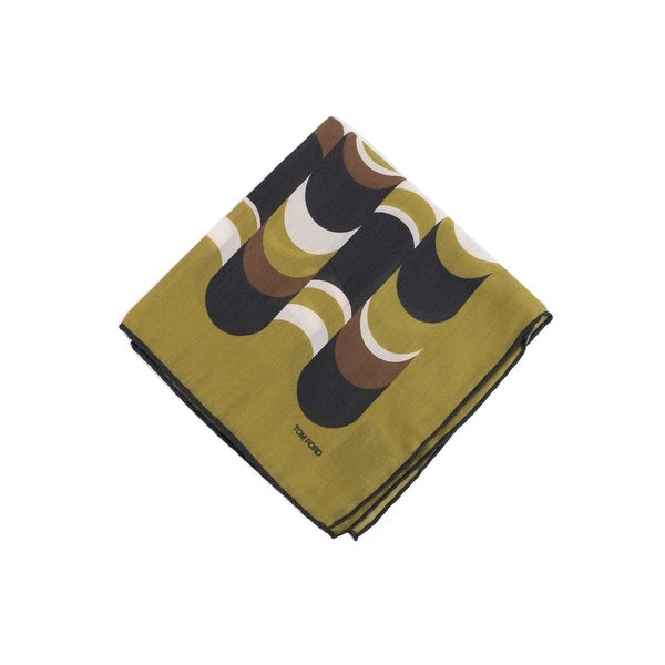 Tom Ford Mens Green Abstract Wave Print Pocket Square
