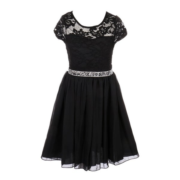 d73c294d8 Shop Girls Black Lace Stone Belt Chiffon Junior Bridesmaid Party Dress -  Free Shipping On Orders Over $45 - Overstock - 19312823