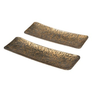 Link to Foreside Home & Garden Set of 2 Distressed Gold Metal Decorative Trays - 8.25x24x2.25 Similar Items in Accent Pieces