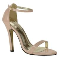 Johnathan Kayne Women's Judith Ankle-Strap Sandal Nude Patent