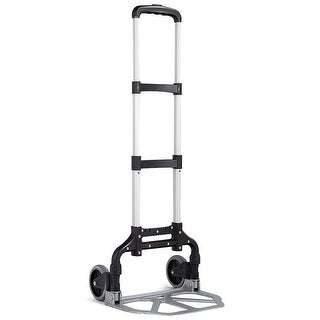Gymax Folding Hand Truck Dolly Aluminum 176 lbs Capacity Heavy Duty with 2 Wheels - silver &black