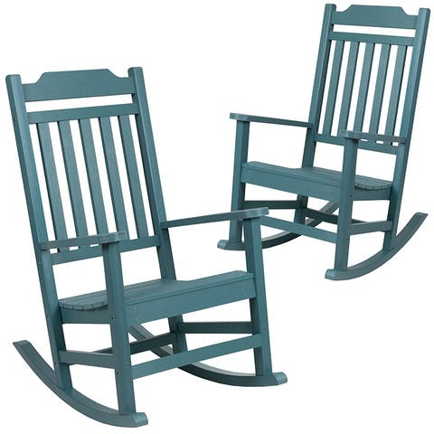 Offex Set of 2 Winston Faux Wood All-Weather Rocking Chair - Teal