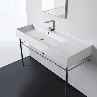 "Nameeks Scarabeo 5121-CON  Scarabeo Teorema 2.0 48"" Rectangular Ceramic Console Bathroom Sink with Overflow"