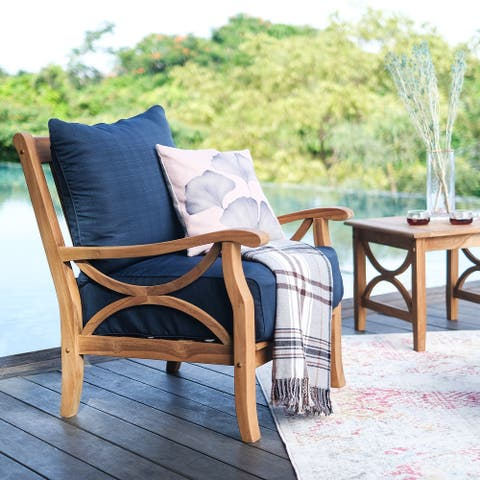 Lowell Teak Patio Lounge Chair with Cushion by Havenside Home