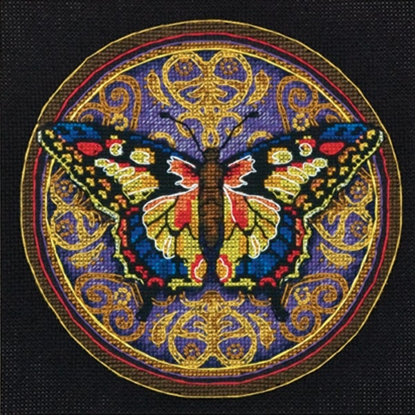 "Gold Petite Ornate Butterfly Counted Cross Stitch Kit-6""X6"" 18 Count"