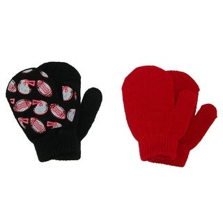 Aquarius Toddlers 2T / 4T Football and Solid Mittens (Pack of 2) - Black - One Size