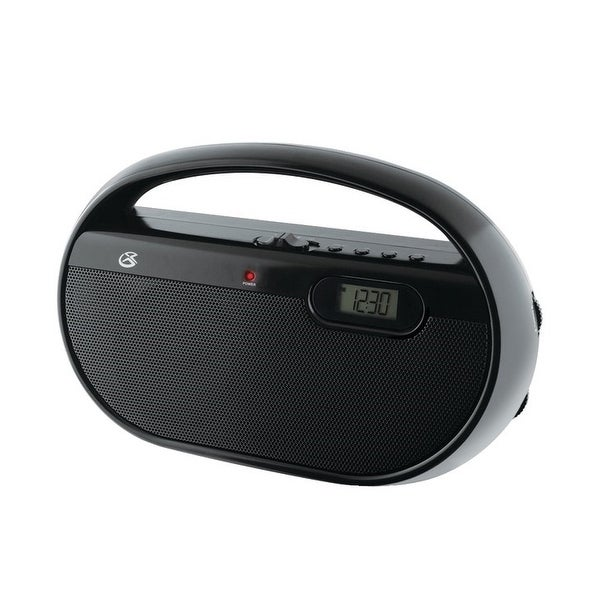 GPX R602B Portable AM/FM Radio With Digital Clock, Black
