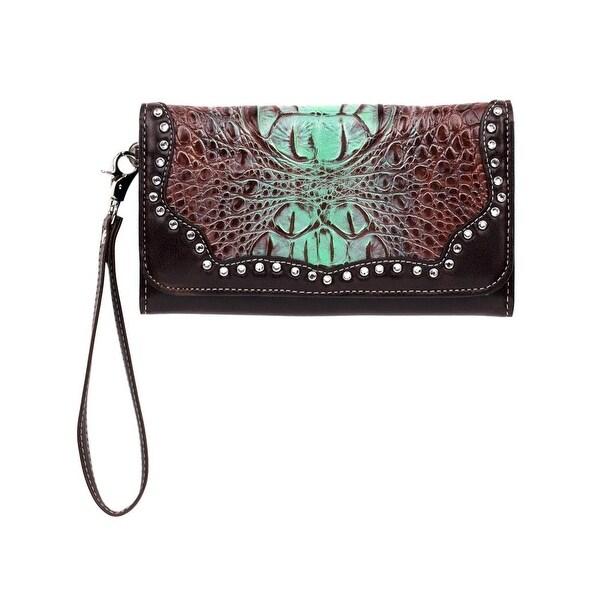 """Blazin Roxx Western Wallet Women Carmel Croco Snap Zipper Tan - 7 1/2"""" x 4 1/2"""""""