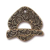 TierraCast Antiqued 22K Gold Plated Pewter Large Spiral Square Toggle Clasp Set 22mm (1)