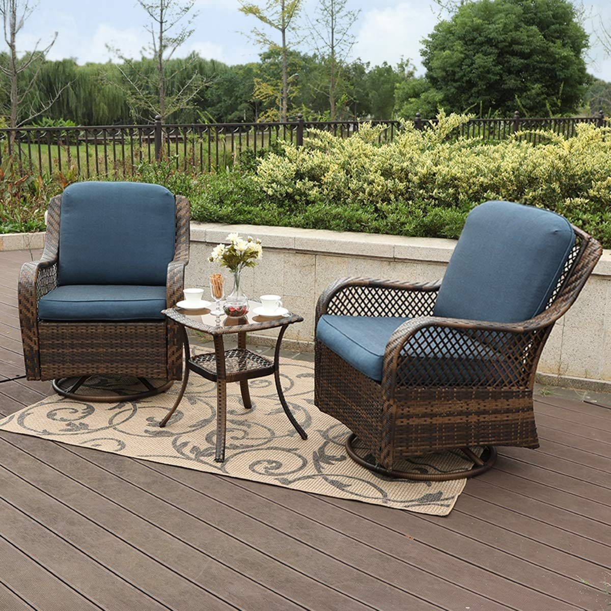 Clarese 3 Piece Rattan Rocking Conversation Set By Havenside Home On Sale Overstock 28894902