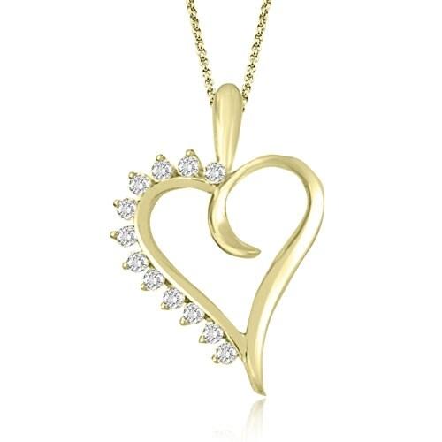 0.25 cttw. 14K Yellow Gold Round Cut Diamond Heart Shape Pendant